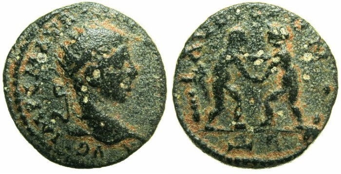 Ancient Coins - SYRIA.LAODICEA AD MARE.Elagabalus AD 218-222.AE.~#~Two grappling Wrestlers.