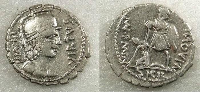 Ancient Coins - ROME Republic Mn Aquillius Mn f Mn n 71BC AR Denarius Serratus