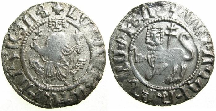 Ancient Coins - CILICIAN ARMENIA.Levon I AD 1199-1219.AR.Half Double Tram.