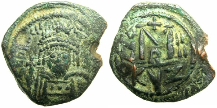 Ancient Coins - BYZANTINE EMPIRE.Heraclius AD 610-641.AE.Follis.AD 613/14.Mint of CYZICUS.
