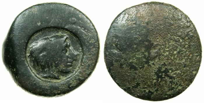 Ancient Coins - SICILY.AKRAGAS.Circa 425-406 BC.AE.Hemi litron.~~~Countermark young Herakles.