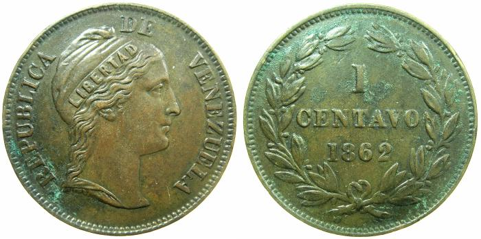 World Coins - VENEZUELA.Republic.AE.1 Centavo 1862 ( 25.8mm ).
