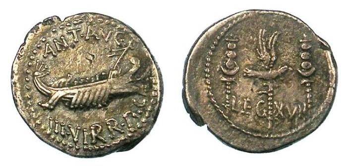 Ancient Coins - Mark Antony 32-31 BC.AR.Denarius.Rev.LEG XVII