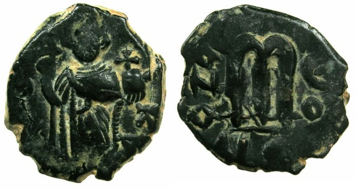 Ancient Coins - BYZANTINE EMPIRE.Constans II AD 641-668.AE.Follis, struck AD 641/42.Mint of CONSTANTINOPLE.