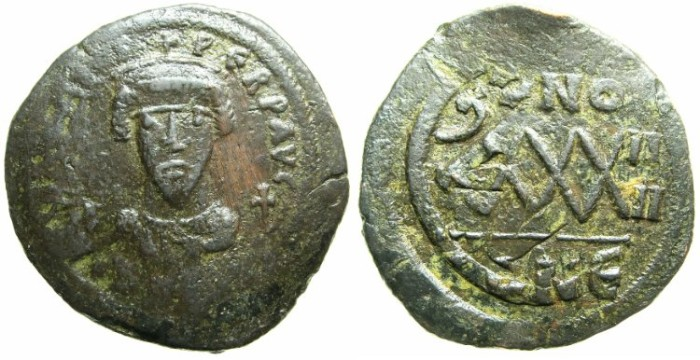 Ancient Coins - BYZANTINE EMPIRE.Focas AD 602-610.AE.Follis.AD 605-606.~~~Constantinople mint overstrike on Maurice Tiberius Year 8