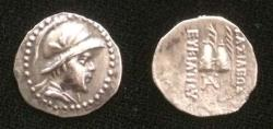 Ancient Coins - Bactrian Eucratides C.171-135 BC.AR Obol.with dotted border.