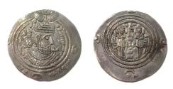 World Coins - Arab Sassanian Khusru II type.BYSH [ Bishapur ] AH 42.AR drachm.