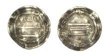World Coins - Abbasid dirham Kufa 146 h.temp Al Mansur.
