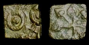 Ancient Coins - Ancient India,Satavahana from vidarbha.c 200-150 BC.copper unit.