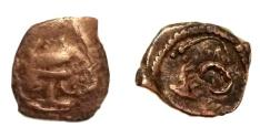 Ancient Coins - Kidarites,Hunnic kingdom in Ghandhara/ Kashmir smast,with Vaishnava Conch.bronze Obol.5th-6th Century AD Rare.
