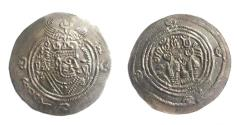Ancient Coins - Hepthalites.Hunnic Tribes,Before AD 700.AR Drachm.Imitating a Post-Yazdgerd .Rare