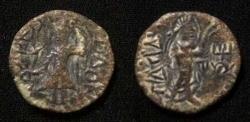 Ancient Coins - Kushan,Kanishka.Circa AD 130-158.AE Quater unit.
