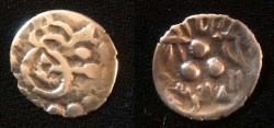 World Coins - Pre-Habbarid Multan 712-856 AD.Bilingual type with Arabic and Brahmi Inscription.Umayyad or Abbasid of Multan,silver damma with the name of Governor Al'Rabbi.