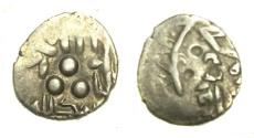 Ancient Coins - Pre-Habbarid Multan 305/918.Bilingual type with Arabic and Brahmi Inscription.Umayyad or Abbasid of Multan,silver damma with the name of Governor Ahmed..