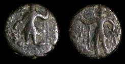 Ancient Coins - Kushan Kanishka,AD 130-158.Eastern series,struck in Jammu and Kashmir.AE Quater unit.