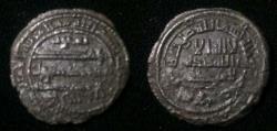 World Coins - Abbasid AE fals Jurjan 190h.Ya'qub bin Ishaq.Zeno.52682.double struck
