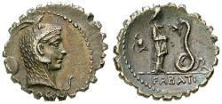 Ancient Coins - L. Roscius Fabatus, 64 BC, Denarius, serratus 64 BC Rome