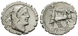 Ancient Coins - L. Procilius, 80 BC, Denarius, serratus 80 BC Rome