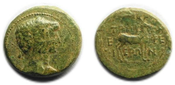 Ancient Coins - Ephesos, Ionia; Augustus and Livia