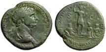 "Ancient Coins - Trajan AE Sestertius ""Armenia Tigris & Euphrates at Feet of Empeor"" RIC 642 Rare"