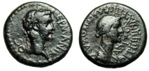"Ancient Coins - Caligula AE17 ""Busts of Germanicus & Agrippina I Senior"" Phrygia Aezanis gF"