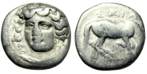 "Ancient Coins - Thessaly, Larissa Silver Drachm ""Nymph Facing & Horse Grazing"" aVF"