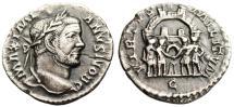 """Ancient Coins - Galerius Caesar Argenteus """"Four Tetrarchs Before City"""" Treveri RIC 110b Rare VF"""