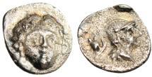 "Ancient Coins - Pisidia, Selge Silver Obol ""Facing Gorgoneion & Athena, Astragalos"" VF"