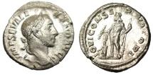 """Ancient Coins - Severus Alexander Silver Denarius """"Jupiter With Thunderbolt, Small Emperor"""" EF"""