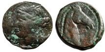"Ancient Coins - Zeugitania, Carthage AE27 (Trishekel) ""Head of Horse, Caduceus / Tanit"" Scarce"