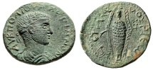 "Ancient Coins - Valerian I AE28 ""Cult Statue of Artmis, Dog & Stag"" Cilicia Anemurium Choice EF"