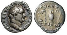 """Ancient Coins - Vespasian AR Denarius """"Simpulum, Aspergillum, Jug & Lituus"""" Rome 72-73 AD nVF"""