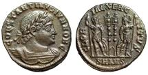 """Ancient Coins - Constantine II as Caesar """"GLORIA EXERCITVS Two Soldiers"""" Antioch RIC 87 EF"""