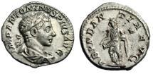 """Ancient Coins - Elagabalus AR Denarius """"Abundantia Pouring Cornucopia"""" Rome RIC 56 nEF"""
