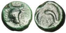 "Ancient Coins - Thrace, Byzantion (Byzantium) AE11 ""Bull's Head & Three Dolphins"" BMC 30 Rare"