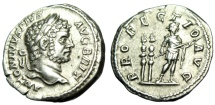 "Ancient Coins - Caracalla Silver Denarius ""PROFECTIO AVG Emperor by Standards"" Rome RIC 225 gVF"