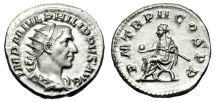 "Ancient Coins - Philip I Silver Antoninianus ""Seated, Globe"" Rome 245 AD RIC 2b Lustrous FDC"