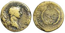 "Ancient Coins - Trajan Dupondius ""SC in Wreath, O Top"" Rome, Use in Syria RIC 645"