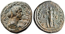 "Ancient Coins - Faustina II AE As ""FECVND AVGVSTAE Fecunditas With Four Children"" RIC 1636 gVF"