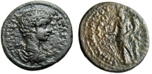 "Ancient Coins - Geta AE25 ""Tyche With Cornucopiae & Rudder"" Phrygia Apameia Very Rare VF"