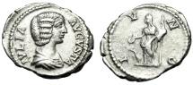"Ancient Coins - Julia Domna (Wife Septimius Severus"" Silver Denarius ""Juno, Peacock"" RIC 559 VF"