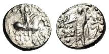 """Indo-Scythian King: Azes II AR Drachm """"King on Horseback & Zeus, Nike"""" aVF"""