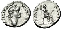 """Ancient Coins - Tiberius """"Tribute Penny"""" Silver Denarius """"Seated Livia"""" RIC 30 About FDC Lustrous"""