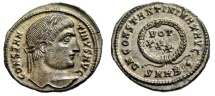 "Ancient Coins - Constantine I The Great AE3 ""VOT XXX in Wreath"" Intriguing Reverse Error gEF"