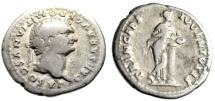 "Ancient Coins - Domitian as Caesar AR Denarius ""PRINCEPS IVVENTVTIS Salus, Column"" Rome RIC 1084"