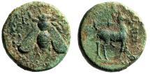 """Ancient Coins - Ionia, Ephesus (Ephesos) AE17 """"Bee & Stag, Quiver"""" Kalligenes Magistrate"""