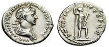 "Ancient Coins - Trajan Silver Denarius ""Virtus With Weapons"" Rome RIC 355 gVF Old Cabinet Tone"