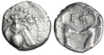 "Ancient Coins - Ionia, Ephesus (Ephesus) AR Diobol ""Bee & Two Confronted Stag's Heads"" nVF"
