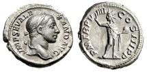 "Ancient Coins - Severus Alexander AR Denarius ""Sol With Globe"" Rome 230 AD RIC 102 Good VF"