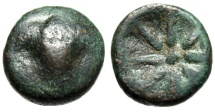 """Ancient Coins - Troas, Thymbra AE17 """"Zeus Ammon Facing & Eight Pointed Star"""" Unpublished ? Extremely Rare"""